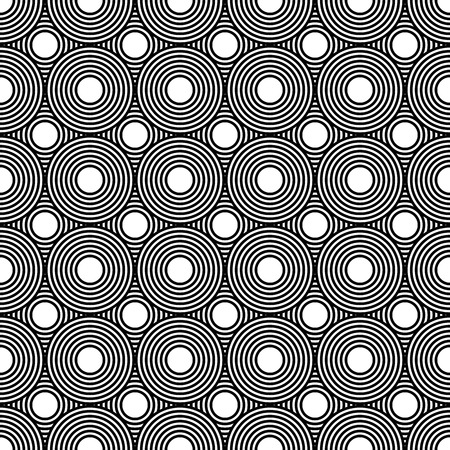 Seamless geometric pattern repeating overlapping rows circles, black and white background linear hipster graphic design Illustration