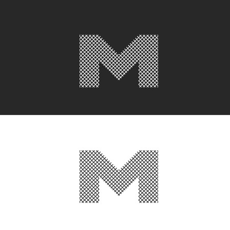intertwined: letter M monogram, black and white intertwined thin lines, hipster emblem for business cards