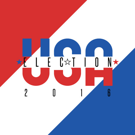 USA presidential election 2016 poster colors American flag, political party voice of the electorate Illustration