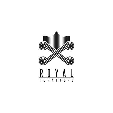 Furniture logo chair monogram form throne, back sofa crown shape, comfortable interior icon
