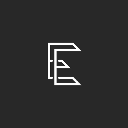 ee: E letter monogram EE combination, initial business card emblem mockup, intersection thin lines typography design element