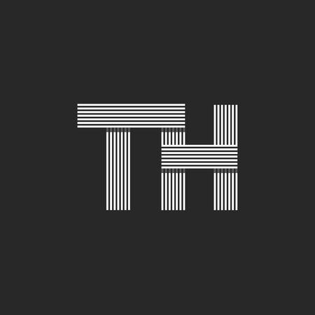 th: TH letters initials, combination letters T and H together, business card monogram emblem mockup
