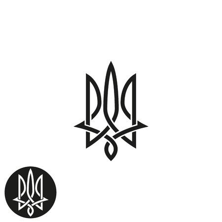 emblem of ukraine: Trident  monogram, Ukraine emblem print mockup, overlapping black and white thin line design element