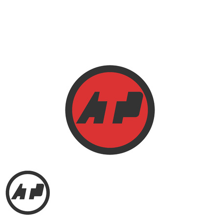 atp: Initials ATP negative space A T P letters media branding round emblem business card, tech identity icon