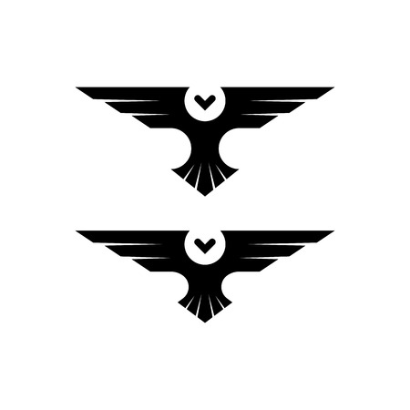 spread: Owl  silhouette raptor in flight with spread wings in the style of negative space, simple black and white tattoo template