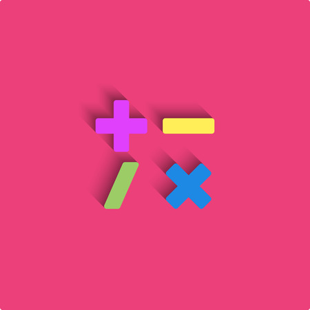 multiply: Calculator mockup style material design, mathematical symbols colored icon, plus signs, minus, divide, multiply Illustration
