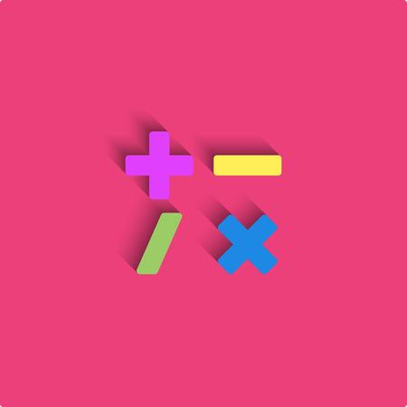 signos matematicos: estilo maqueta calculadora diseño de materiales, símbolos matemáticos icono de color, los signos más, menos, dividir, multiplicar Vectores