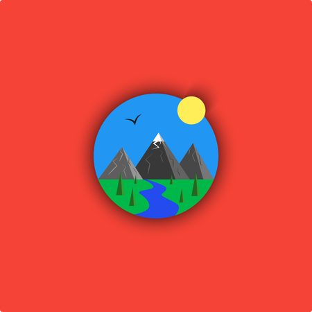 landscape   cartoon illustration, minimalistic outdoor emblem, sky, river, mountain, sun, spruce, bird, grass, material design paper spring icon