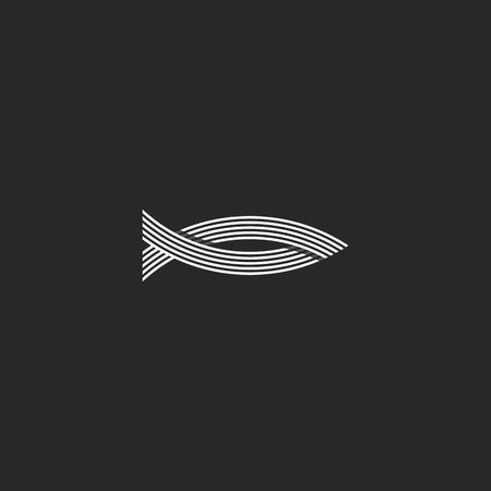 魚モノグラム、並列織り線ヒップスター釣りエンブレム、シーフード レストラン メニュー記号を形します。