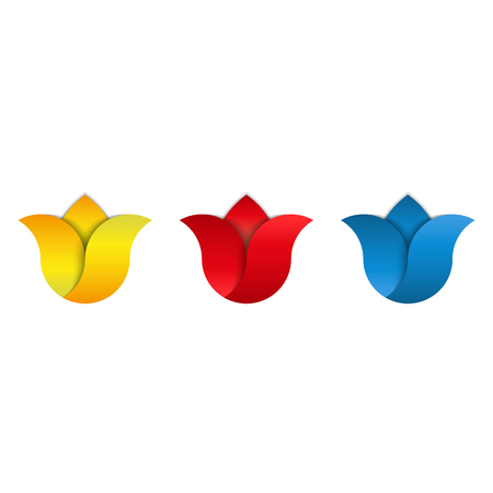 Tulip set flowers blue, red, yellow bud, gradient floral petals, cosmetic makeup emblem mockup, Holland symbol