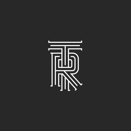Retro TR logo monogram, overlapping thin line capital letters T R combination, wedding initials RT emblem
