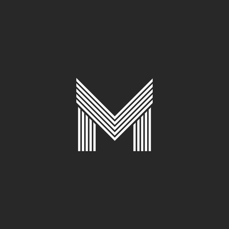 initial: Monogram M letter logo hipster initial emblem template, black and white flat thin line mockup capital symbol design element Illustration