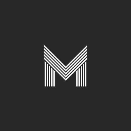 Monogram M letter logo hipster initial emblem template, black and white flat thin line mockup capital symbol design element Illustration