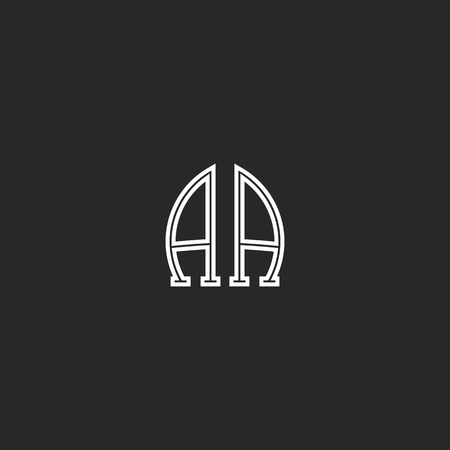 association: Monogram AA logo association of the two capital letters A and A, black and white thin line emblem mockup flat stylish design element