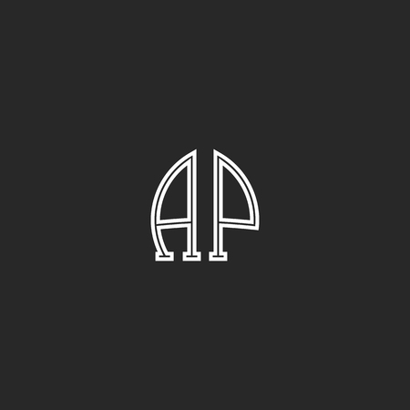 associated: United AP logo letters together thin line monogram, coupled capital initials A and P associated emblem Illustration