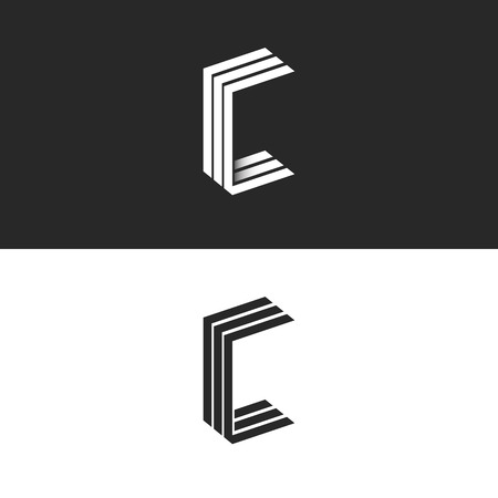 Idea 3D logo C letter isometric monogram, group initials CCC black and white simple emblem, parallel lines geometric shape