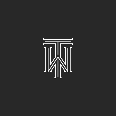 TW letters logo medieval monogram black and white combination intersection initials WT for wedding invitation emblem, T W hipster icon Vettoriali