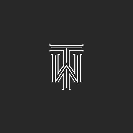TW letters logo middeleeuwse monogram zwart-wit combinatie kruising initialen WT voor bruiloft uitnodiging embleem, TW hipster icon