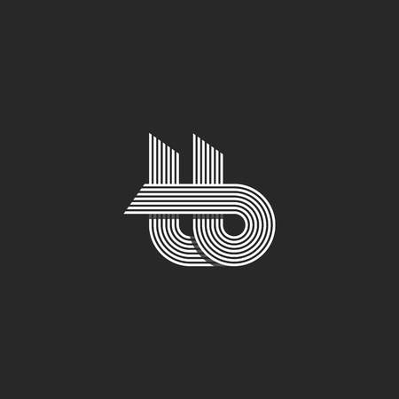 tb: Letters tb logo parallel lines monogram, combination t b overlapping symbols nifty hipster emblem, black and white design element template Illustration