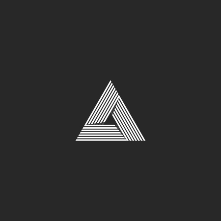 intersect: Triangle logo isometric, infinity sharp corner geometric shape illusion, hipster monogram converge overlapping line infinite icon, innovation tech delta emblem Illustration