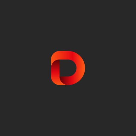 d mark: Letter D gradient red ribbon, social technology emblem mockup, identity mark geometric shape design element template