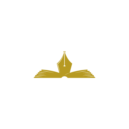 poet: Open book logo fountain pen together, the literature poetry club or the education of an emblem, the author or poet symbol for business cards Illustration