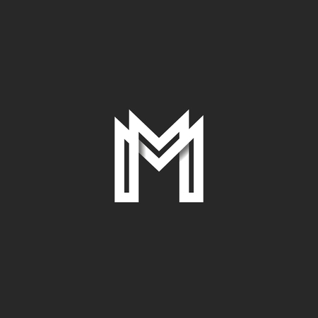 Letter M logo monogram, overlapping line mark MM initials combination symbol mockup, black and white typography design hipster element Çizim