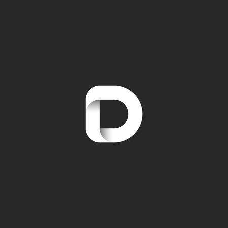 Lettre D Logo Ruban Noir Blanc Monogramme Gradient Simple Initial