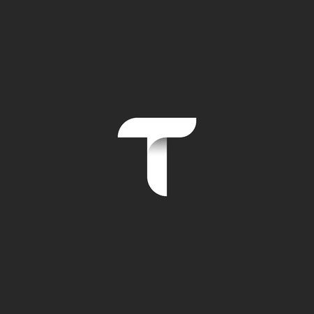Letter T-logo gladde lijn geometrische vorm, zwart-wit stijl monogram typografie ontwerpelement, boutique emblem mockup Stock Illustratie