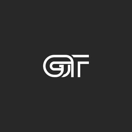 GT logo letters monogram, combination overlapping thin line symbols G T black and white style, wedding invitation weaving emblem