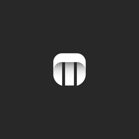 sleek: Letter M logo minimal style identity mockup, mark hipster monogram emblem template, smooth geometric simple shape, sleek stripe typography design element Illustration