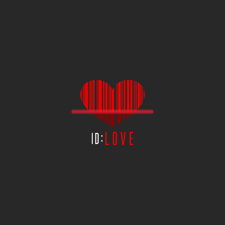 Red Heart Shape Barcode Scanner Creative Valentine Is Day Greeting Card  Mockup Romantic Love   Valentine