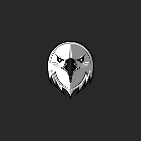 sports team: Eagle logo predator bird face aggressive, hawk head front view emblem black and white design element template, mascot sport team t-shirt print mockup