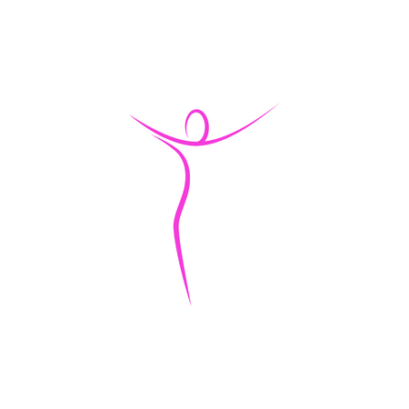 Abstract outline standing body of a woman.