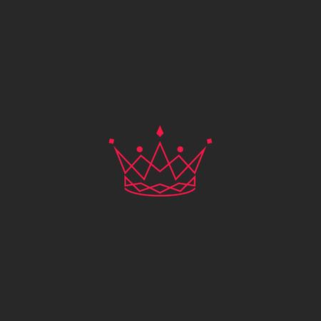 Silhouette crown logo, princess tiara with gem emblem, intersection pink lines stylish royal design element 일러스트
