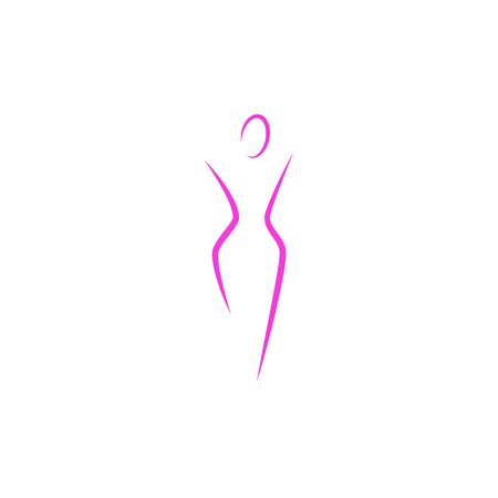 Silhouet van een slanke vrouw lichaam logo, abstracte gezondheid vrouwelijke slank figuur van een jong meisje roze lijnen kunst, mockup van een vrouwelijke embleem voor een spa of een dieet Logo