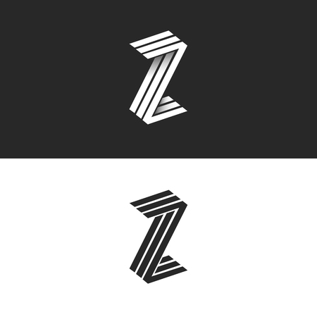 Letter Z logo isometric geometric shape 3D monogram, hipster graphic design initials ZZZ black and white emblem with shadow for wedding invitation or business card