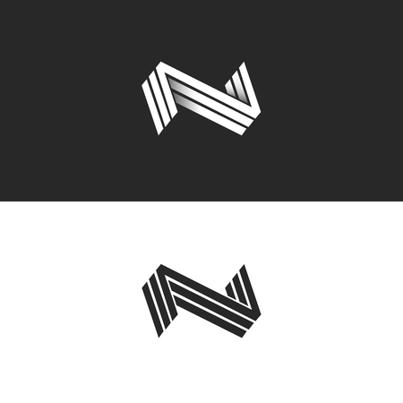 Letter N logo three NNN mark, isometric lines geometric shape black and white hipster emblem, identity 3D typography design element mockup. Perspective minimal style form with shadow.