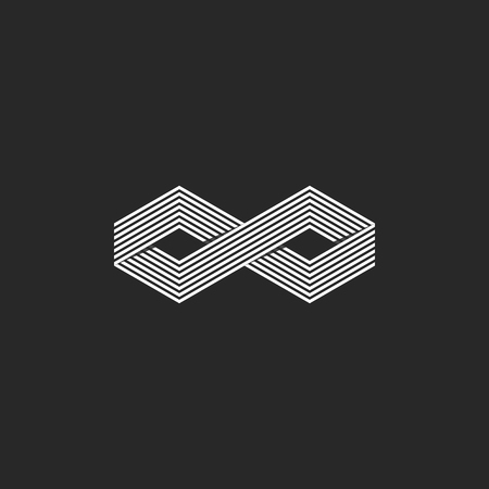 phantom: Two cubes logo isometric infinite symbol, infinity geometric shape overlapping linear design element. Illustration