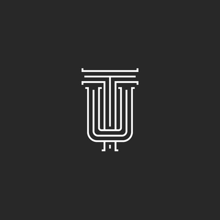 Letters TU logo hipster monogram, intersection thin line emblem UT wedding initials, overlapping two symbols U T template Çizim