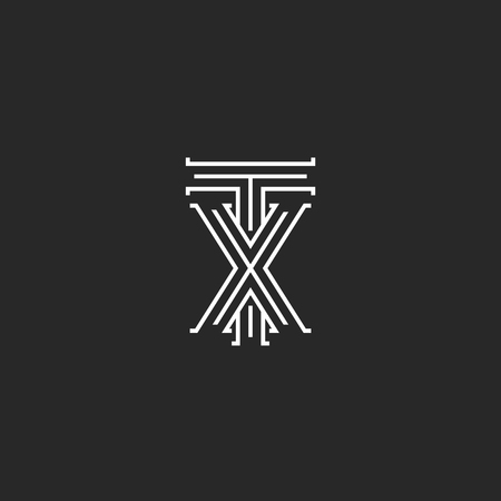 tx: TX letters logo medieval monogram, intersection lines shape XT initials, wedding card emblem X T combination linked two symbols hipster design element template Illustration