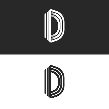 Letter D logo mockup isometric monogram, creative Idea perspective outline symbols, white thin parallel lines design element template Vettoriali