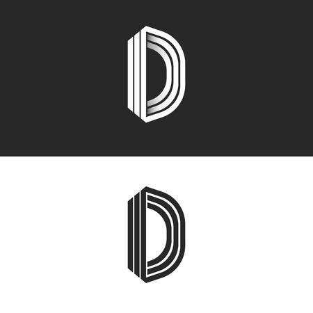 Letter D logo mockup isometric monogram, creative Idea perspective outline symbols, white thin parallel lines design element template Illustration