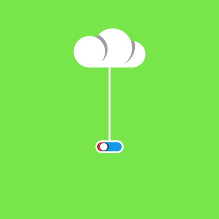 Cloud service concept poster, wire with a switch connection to the cloud storage of files, flat style design technology banner of modern cloud computing. Illustration