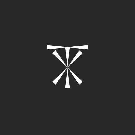 tx: Initials TX logo mockup, typography XT emblem hipster design element template, modern letters symbols T and X together