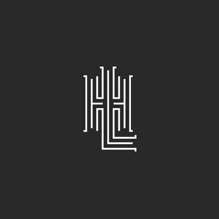 Combination letters HL logo hipster simple monogram, intersection thin line LH wedding emblem mockup, overlapping two initials H L typography design element template