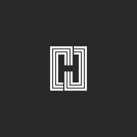 Letter H logo monogram negative space stylish typography design element. Black and white lines initial emblem mockup.