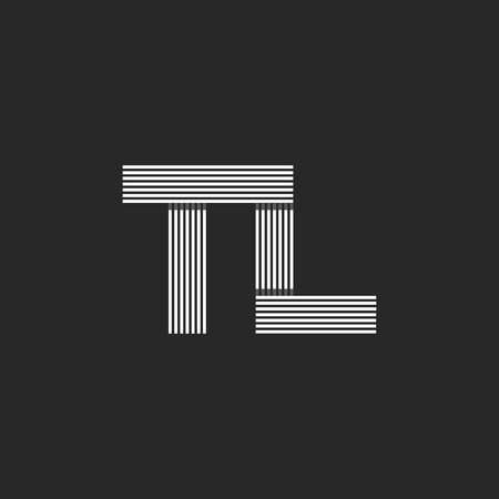 Monogram letters TL logo, combination initials T and L symbols, black and white thin lines, linear hipster art emblem