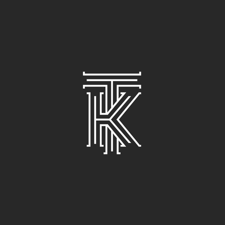Medieval monogram TK Logo, combination initials T and K capital letters overlapping thin lines style, wedding invitation or business card KT emblem mockup Vettoriali