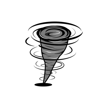 Hurricane in fast motion cartoon style, whirlwind of air, tornado cataclysm icon, strong wind element for design illustration